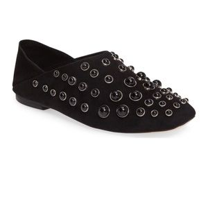 Jeffrey Campbell Baxley Studded Flats Black Suede